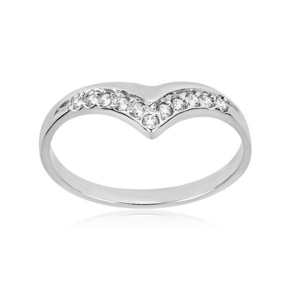 Köves, fehér arany gyűrű