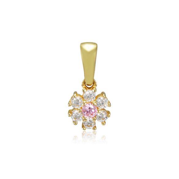 Arany fehér, rózsaszín köves medál