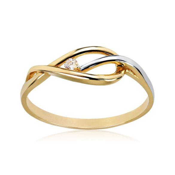 Köves, sárga-fehér arany gyűrű