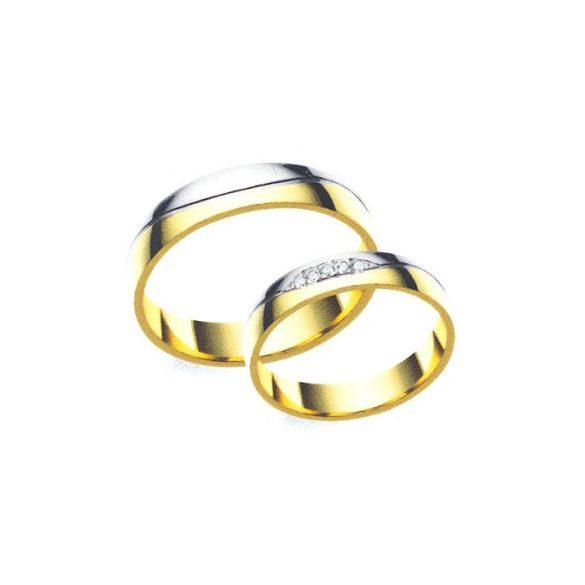 Női Karikagyűrű - féldomború, köves