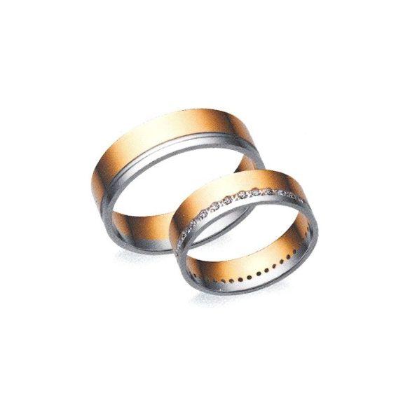 Női Karikagyűrű - 6mm széles, féldomború, köves