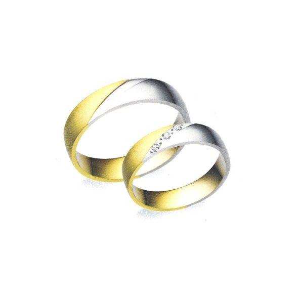 Női Karikagyűrű - 5mm széles, féldomború, köves