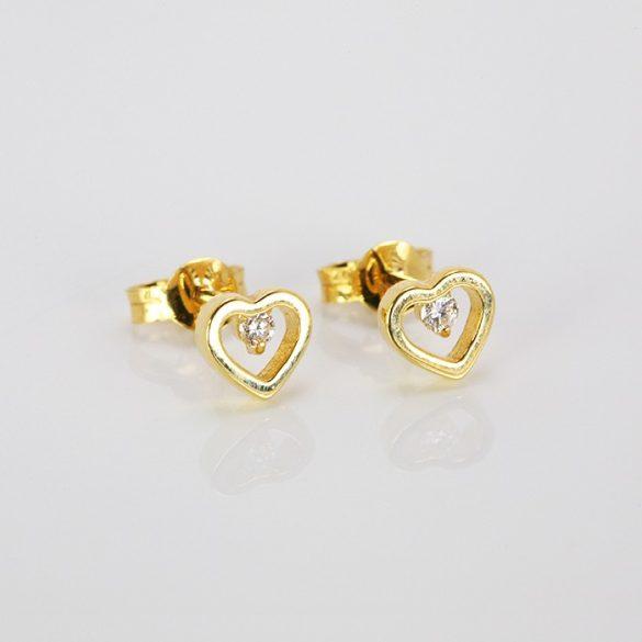 Arany szív fülbevaló brillel - 41035246