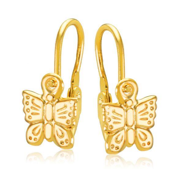 Bébi gyermek fülbevaló - sárga pillangó