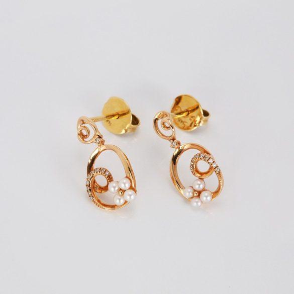 Arany fülbevaló brillel és gyönggyel - 71032376