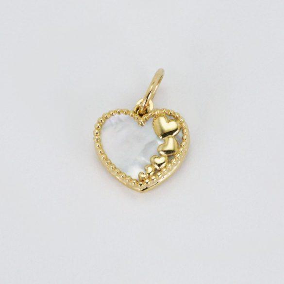 Arany szív, gyöngyház medál - 7508H