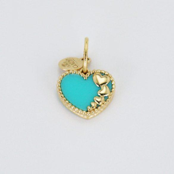 Arany szív, kék medál - 7512H