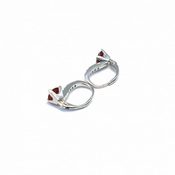 Négyzetes, 4 karmos, patentzáras fülbevaló  - E-0178/Ag 925+ Rh