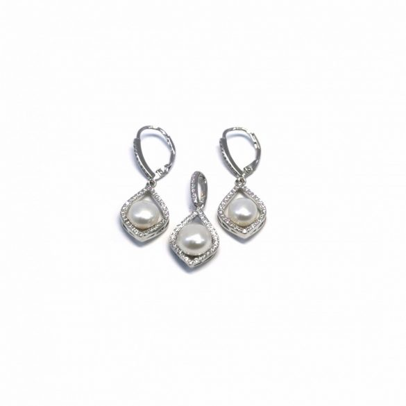 Gyöngyös patentzáras fülbevaló és medál  - G-0025/Ag 925+ Rh