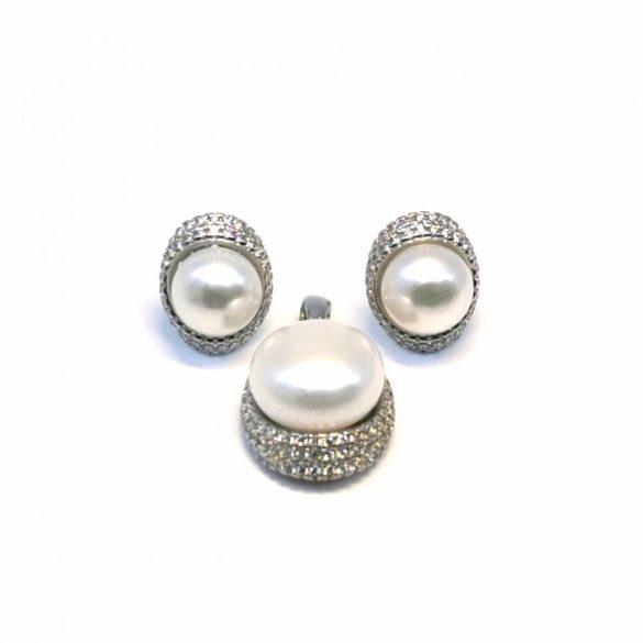 Gyöngyös stekkeres fülbevaló és medál  - G-0027/Ag 925+ Rh
