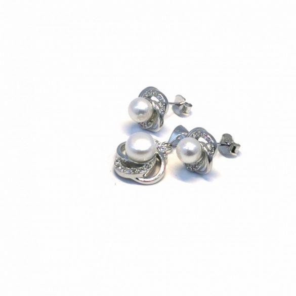 Gyöngyös stekkeres fülbevaló és medál  - G-0036/Ag 925+ Rh