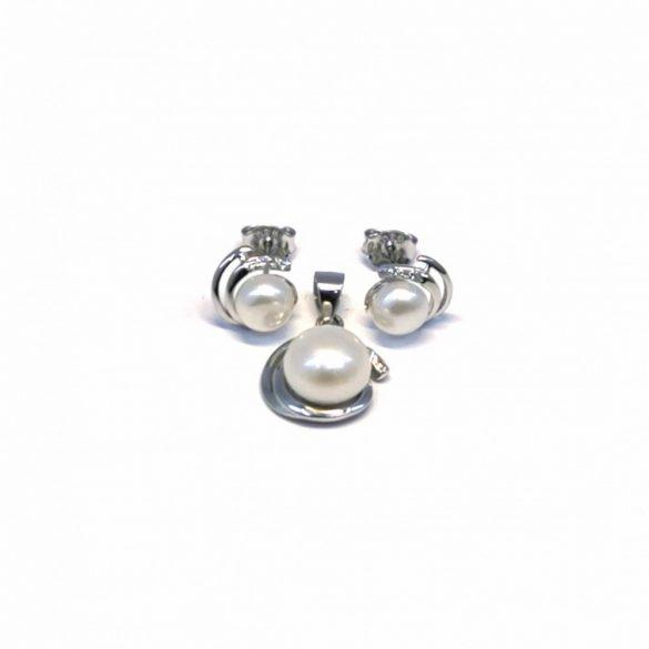 Gyöngyös stekkeres fülbevaló és medál  - G-0038/Ag 925+ Rh