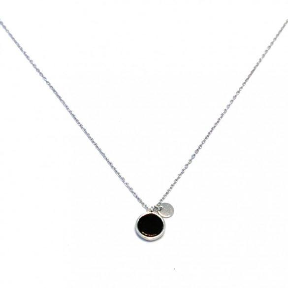 Anker lánc, fekete köves medállal - N-0053/Ag 925+ Rh
