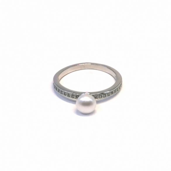 Gyöngyös és köves gyűrű  - R-0085/Ag 925+ Rh