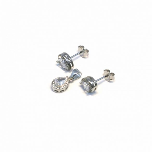 Csepp stekkeres fülbevaló és medál - S-0068/Ag 925+ Rh